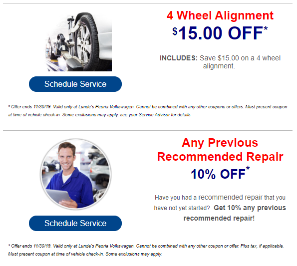 Deals on VW Service Peoria | Deals on VW Parts